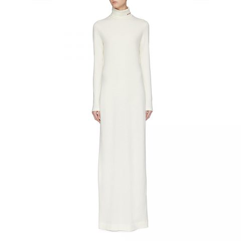 Calvin Klein 205W39NYC cream wool jersey turtleneck dress as seen on Meghan, Duchess of Sussex