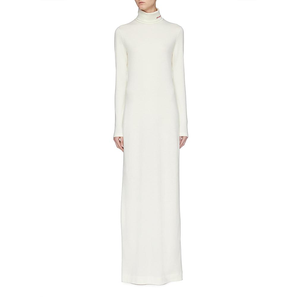 Calvin Klein 205W39NYC cream wool jersey turtleneck dress as seen on Meghan, Duchess of Sussex