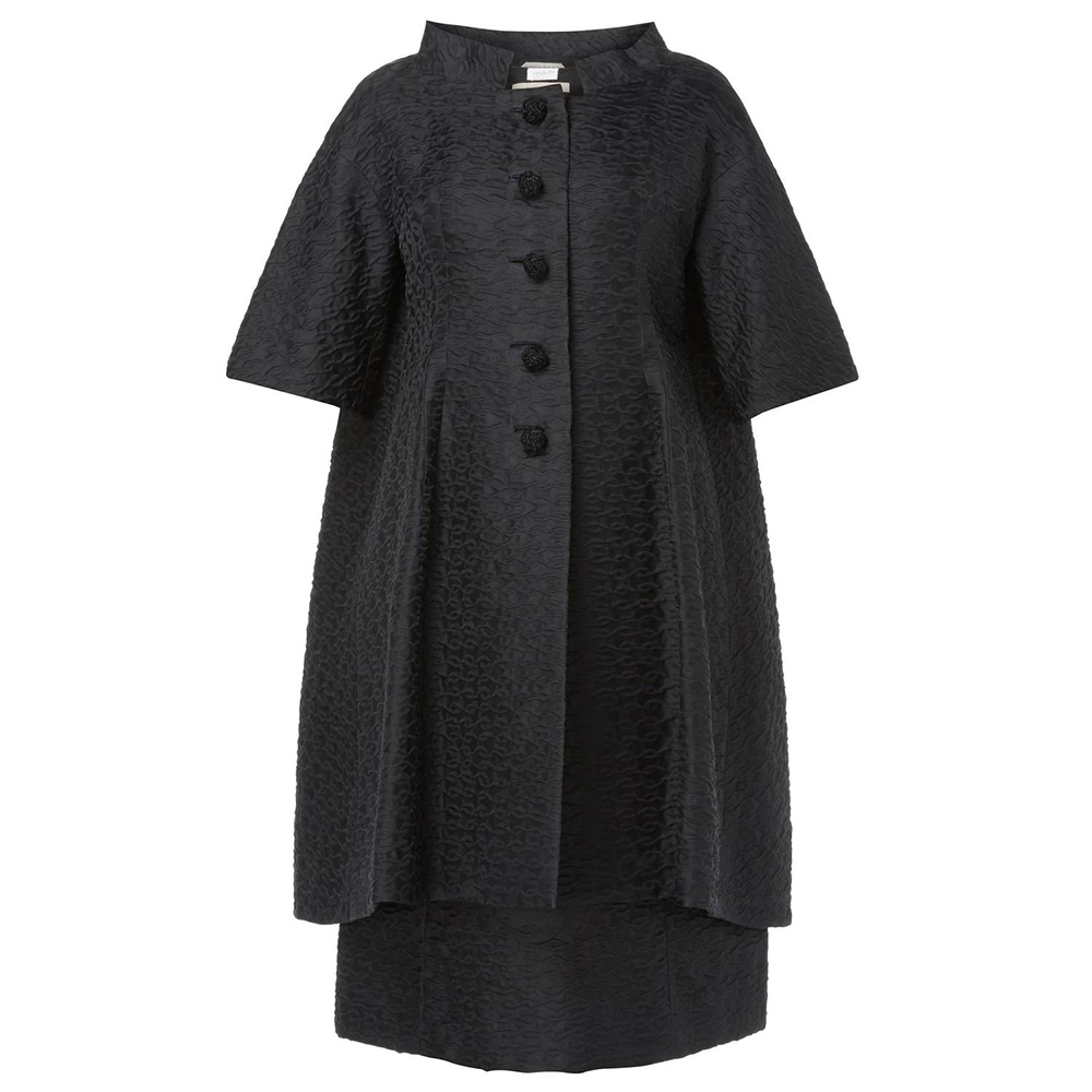 Courrèges haute couture black coat circa 1965 as seen on Meghan, Duchess of Sussex