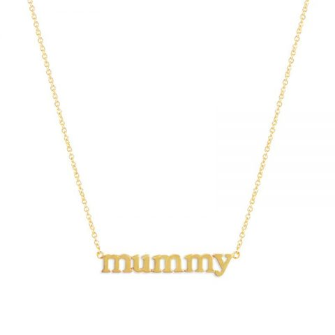Jennifer Meyer lower case 'Mummy' necklace as seen on Meghan, Duchess of Sussex