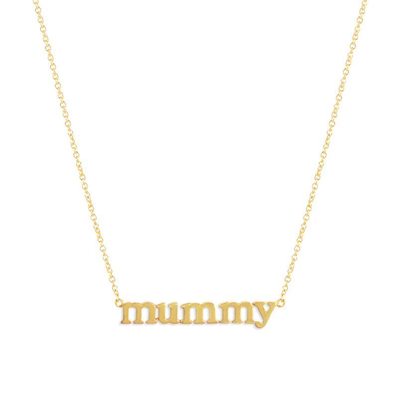Jennifer Meyer lower case 'Mummy' necklace as seen on Meghan, Duchess of Sussex
