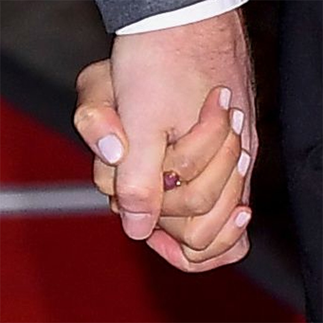 Ring detail - Meghan, Duchess of Sussex and Prince Harry, Duke of Sussex attend the Endeavour Fund Awards at Drapers' Hall on February 07, 2019 in London, England.