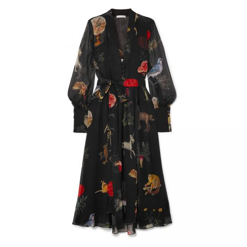 Oscar de la Renta belted enchanted forest dress as seen on Meghan, Duchess of Sussex