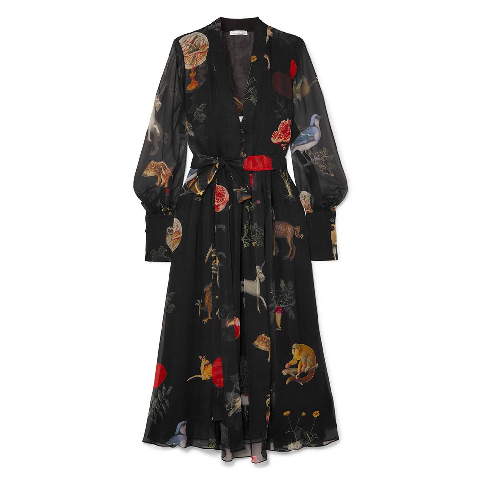 Oscar de la Renta belted enchanted forest dress as seen on Meghan, Duchess of Sussex