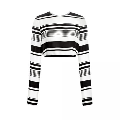 Peter Som Bold Stripe Silk Twill Long Sleeve Crop Top as seen on Meghan Markle