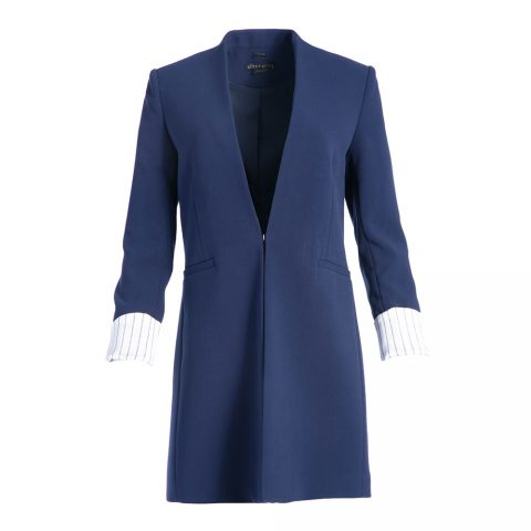 Alice + Olivia Simpson Roll Cuff Collarless Blazer in Sapphire as seen on Meghan, Duchess of Sussex