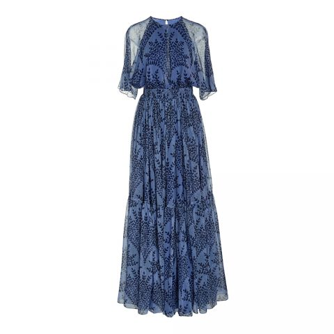 Carolina Herrera Floral-Print Silk Gown as seen on Meghan, Duchess of Sussex
