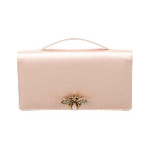 Dior D-Bee satin pochette clutch bag as seen on Meghan, Duchess of Sussex