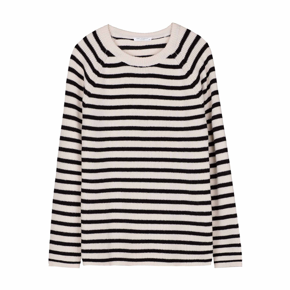 Equipment 'Lucien' striped crewneck sweater with side zip detail as seen on Meghan, Duchess of Sussex.