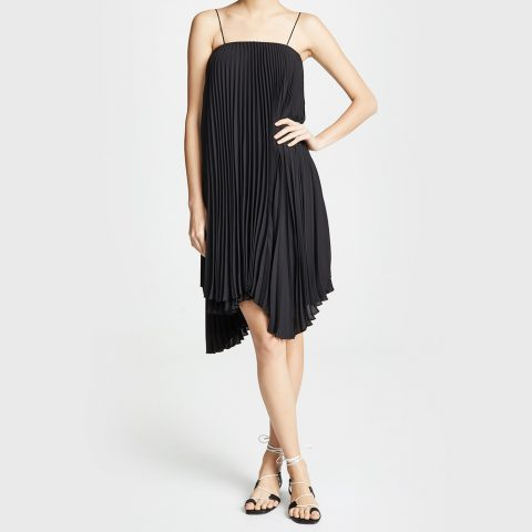 Loyd/Ford Pleated Chiffon Mini Dress in Black as seen on Meghan, Duchess of Sussex