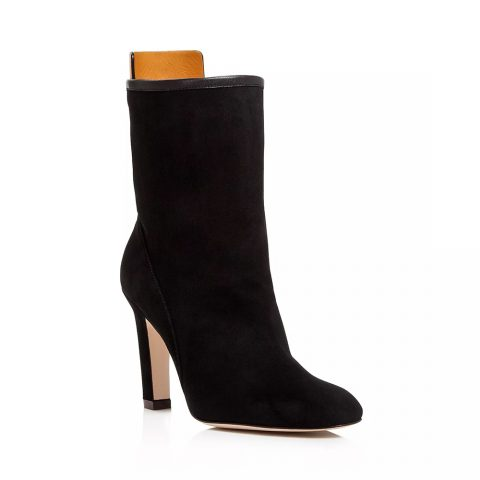 Stuart Weitzman 'Brooks' Round Toe Suede High-Heel Booties as seen on Meghan, Duchess of Sussex