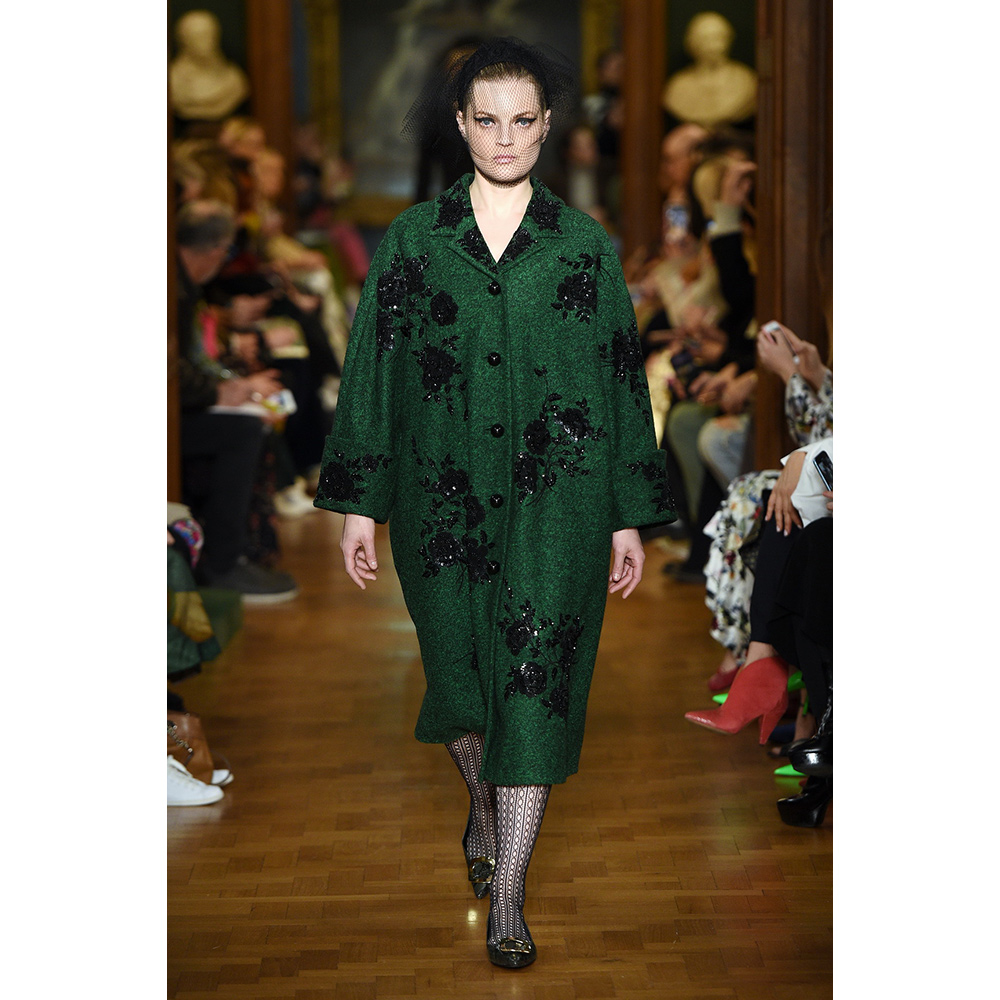 Erdem bottle green coat from Autumn/Winter 2019 Ready-To-Wear collection as seen on Meghan, Duchess of Sussex